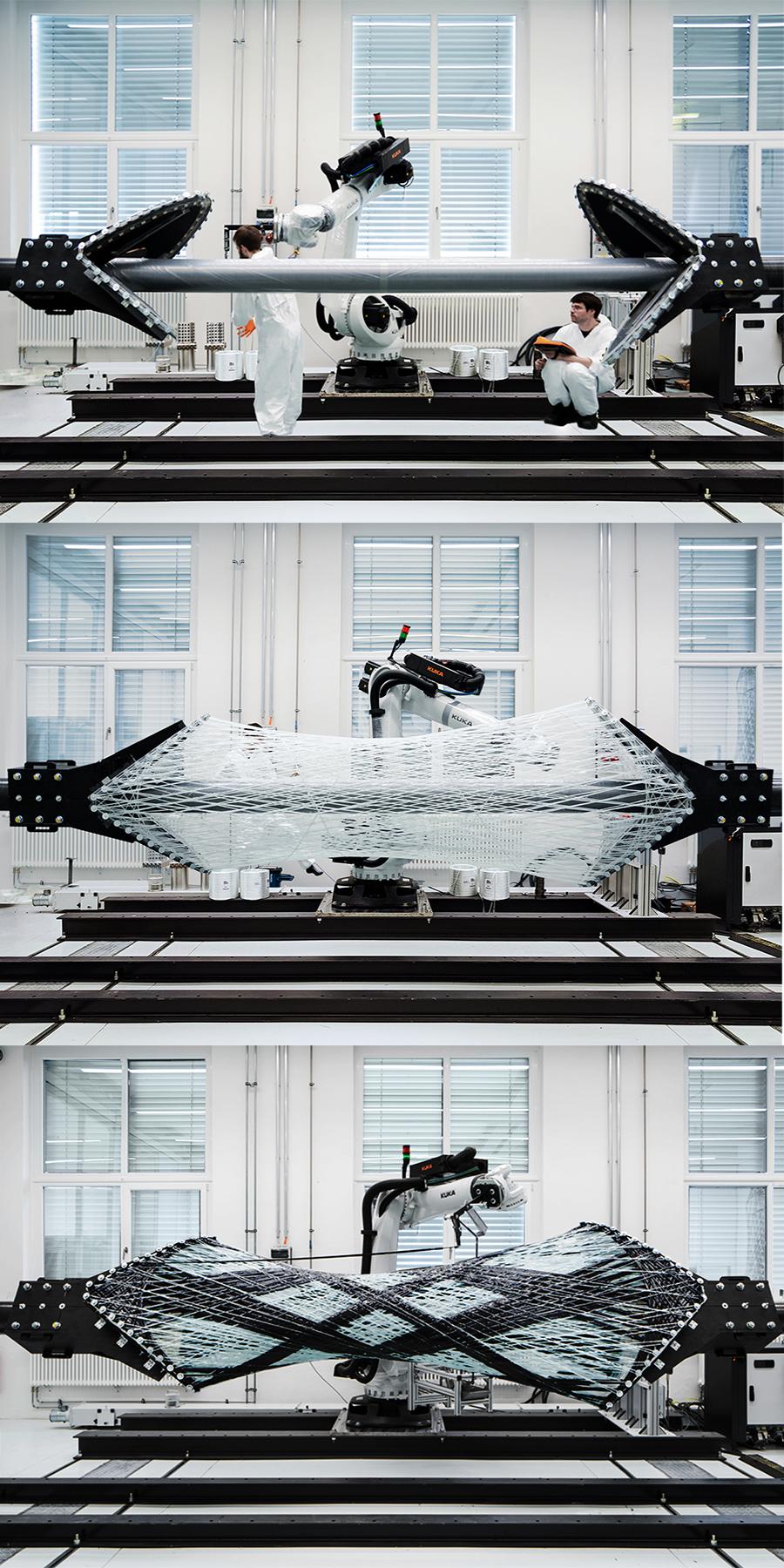 Herstellung des BUGA Faserpavillon 2019 © ICD-ITKE Universität Stuttgart